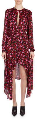Magda Butrym Gela Floral-Print Silk High-Low Midi Dress