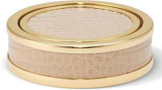 AERIN Set of 4 Croc Embossed Leather Coasters with Holder