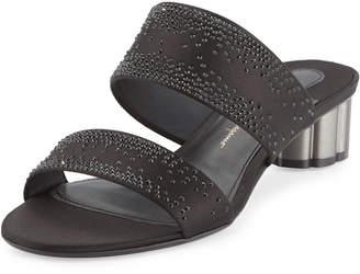 Salvatore Ferragamo Embellished Two-Band Mule Sandals, Black