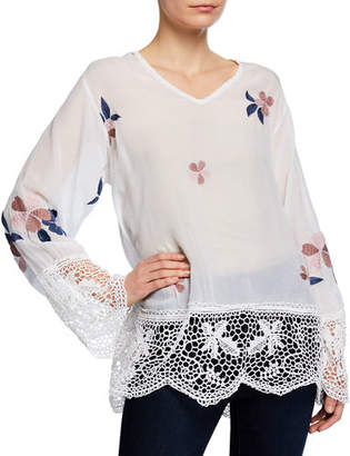 Johnny Was Dhalia V-Neck Georgette Top with Lace & Floral Embroidery, Plus Size