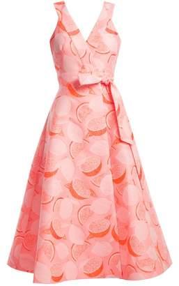 Vika Gazinskaya Lemon-jacquard wrap dress