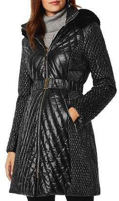 Karen Millen Faux Fur-Trim Quilted Coat