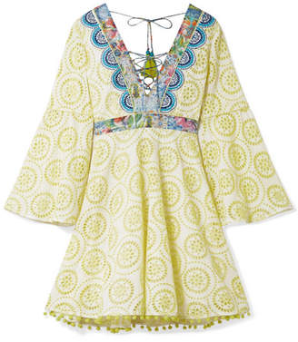Matthew Williamson Deia Fiesta Printed Silk-trimmed Broderie Anglaise Cotton Dress - Pastel yellow