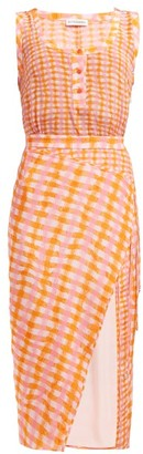 Altuzarra Eleonora Gingham Print Silk Midi Dress - Womens - Orange Multi