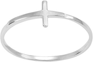 ITSY BITSY itsy bitsy Sterling Silver Sideways Cross Pinky Ring $26 thestylecure.com