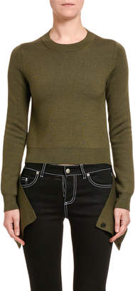 Alexander McQueen Wool-Silk Slash-Hem Sweater