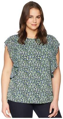 MICHAEL Michael Kors Size Tiny Wildflower Cascade Top Women's Short Sleeve Knit