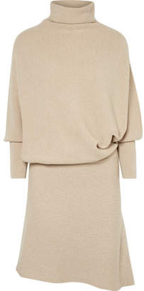 Agnona Asymmetric Ribbed Cashmere Turtleneck Dress - Cream