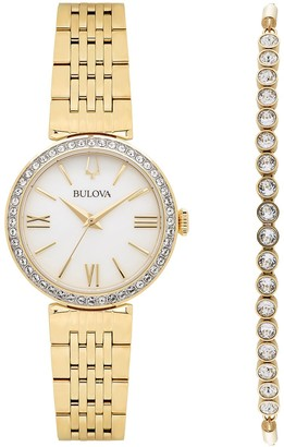 Bulova Women's Crystal Accent Watch & Lariat Bracelet Set - 98D147