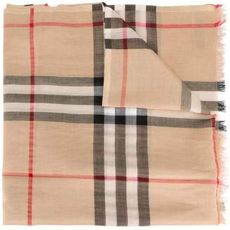 Burberry Metallic Check Silk and Wool Scarf
