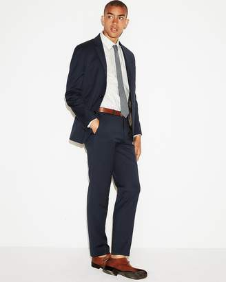 Express Slim Navy Wool-Blend 365 Comfort Stretch Suit Pant