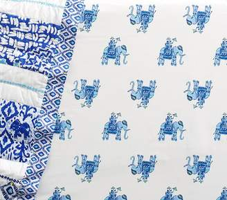 Pottery Barn Kids Lilly Pulitzer Bazaar Elephant Crib Fitted Sheet, Blue