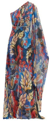 Peter Pilotto Leaf Print One Shoulder Silk Gown - Womens - Blue Multi