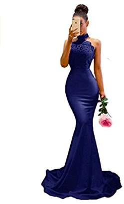 King's Love Women's Halter Neck Mermaid Appliques Lace Long Bridesmaid Dress US