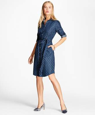 Brooks Brothers Anchor-Print Denim Shirt Dress