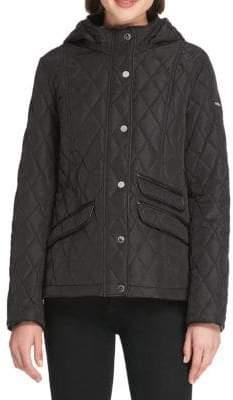 Donna Karan Quilted Hooded Slim-Fit Jacket