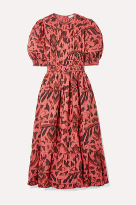 Ulla Johnson Indah Printed Cotton-poplin Midi Dress - Brick