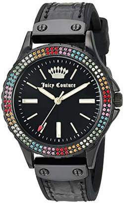 Juicy Couture Label Women's JC/1009MTBK Swarovski Crystal Accented Leather Strap Watch