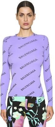 Balenciaga Logo Printed Rib Knit Sweater