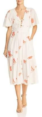 Rebecca Taylor Bird Print Flutter Sleeve Dress