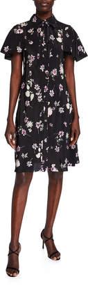 Valentino Flutter-Sleeve Tie-Neck Dress