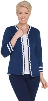 Bob Mackie Rick Rack Rib Knit Jacket