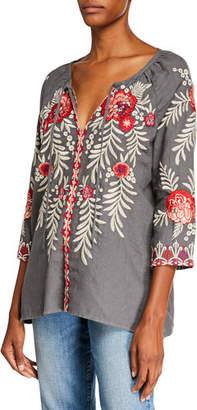 Johnny Was Maya Embroidered Linen Tie-Neck Peasant Blouse, Plus Size