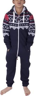 Noroze Unisex Kids Girls Boys Plain Colour Fleece Hooded Onesie Jumpsuit 7