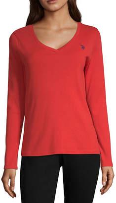 U.S. Polo Assn. Womens V Neck Long Sleeve Sweatshirt Juniors
