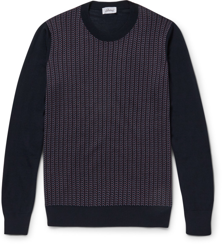 Jacquard-Knit Silk, Wool and Cashmere-Blend Sweater