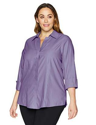 Foxcroft Plus Size Womens Taylor Essential Non-Iron Blouse