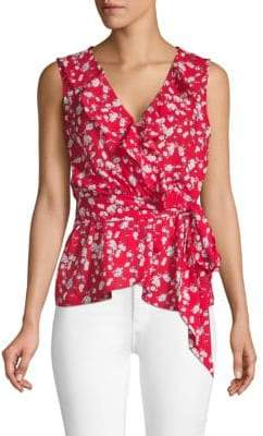 Max Studio Floral Ruffle Sleeveless Top