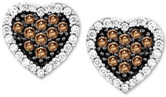 LeVian Le Vian Chocolatier Diamond Heart Stud Earrings (3/8 ct. t.w.) in 14k White Gold
