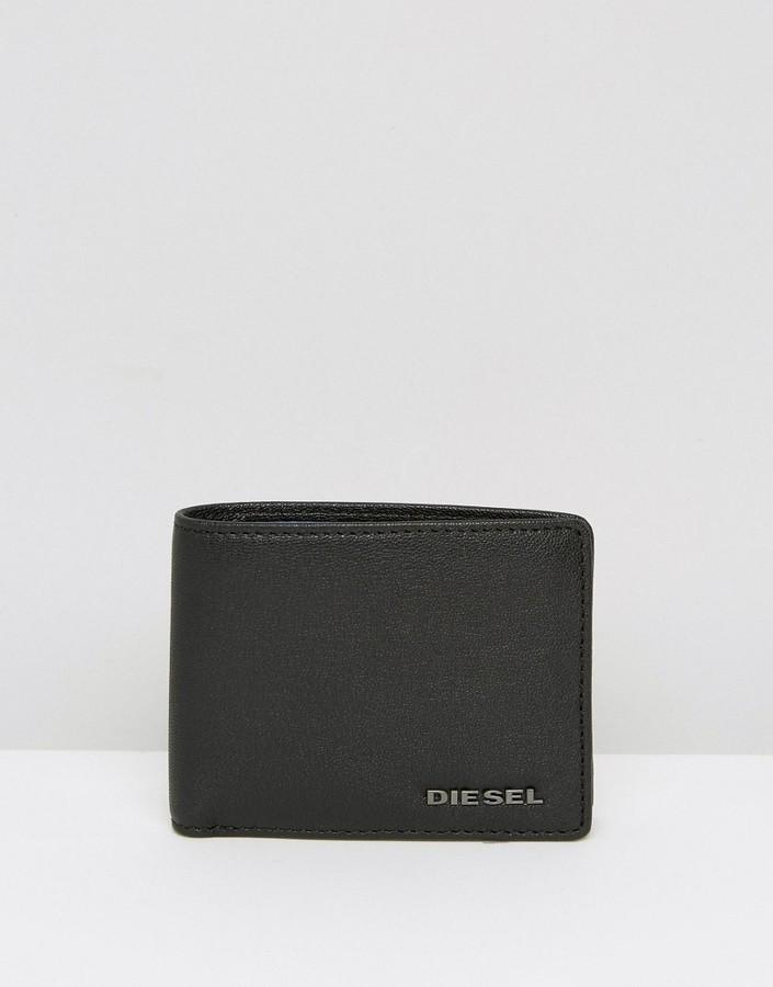 DieselDiesel Leather Wallet With Contrast Internal Black