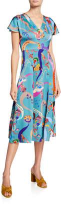 Etro V-Neck Flutter-Sleeve Printed Dress
