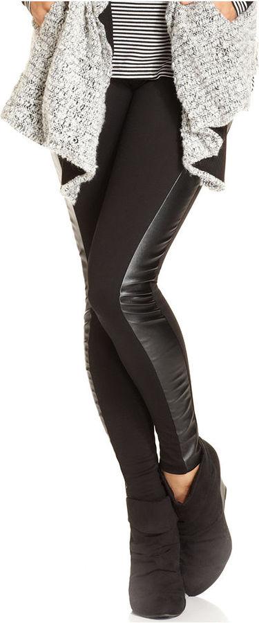 bar lll Pants, Faux-Leather Paneled Leggings