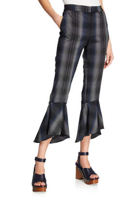 Rachel Roy Aisha Flare-Leg Plaid High-Waist Pants
