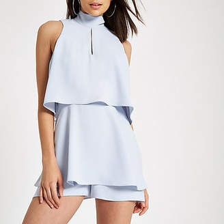 River Island Light blue high neck tiered frill romper