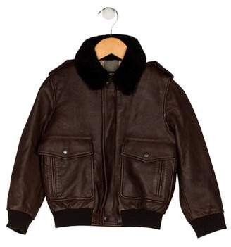 Burberry Boys' Collar Leather Jacket