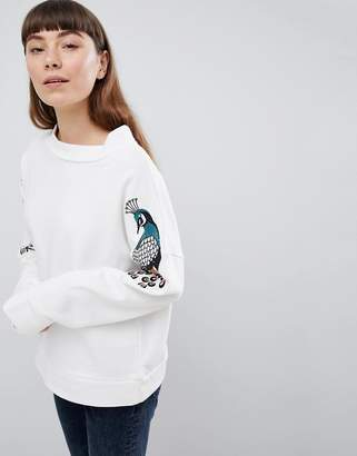 Soaked in Luxury Soaked In Luxury Peacock Embroidered Sweatshirt