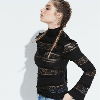 K/lab Mockneck Sheer Lace Top $48 thestylecure.com