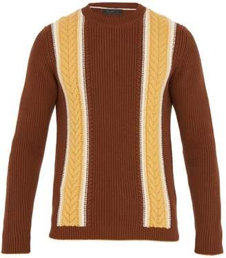 Prada Contrast-stripe wool and cashmere-blend sweater