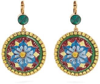 Dolce & Gabbana Floral-drop crystal-embellished earrings
