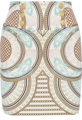 Pierre Balmain Button-Detailed Printed Ponte Mini Skirt
