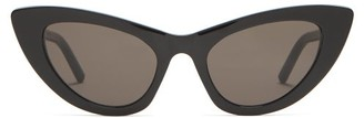 Saint Laurent Lily Cat Eye Acetate Sunglasses - Womens - Black