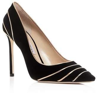 Jimmy Choo Women's Romy 100 Suede & Metallic Leather High-Heel Pointed Toe Pumps