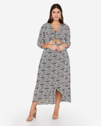 Express Tropical Tie Front Cut-Out Wrap Maxi Dress
