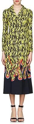 Prada Women's Banana- & Flame-Print Satin Shirtdress - Yellow