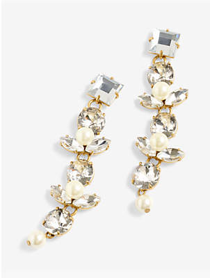J.Crew Faux Pearl and Crystal Statement Drop Earrings