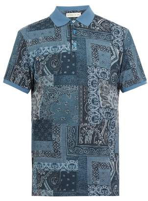 Etro - Paisley Print Polo Shirt - Mens - Navy